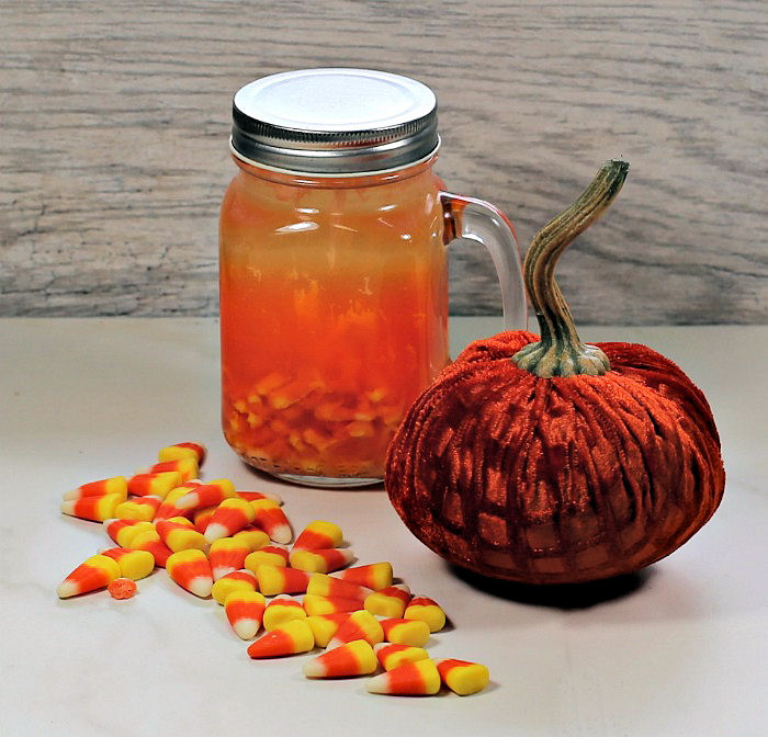 Making infused vodka with candy corn