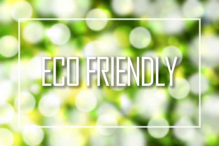 Eco-friendly text on green bokeh.