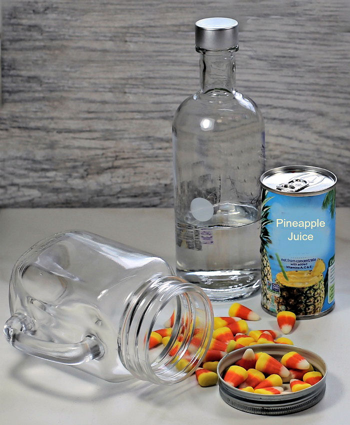 ingredients for a candy corn martini