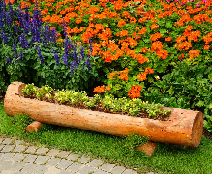 Long log planter with feet.