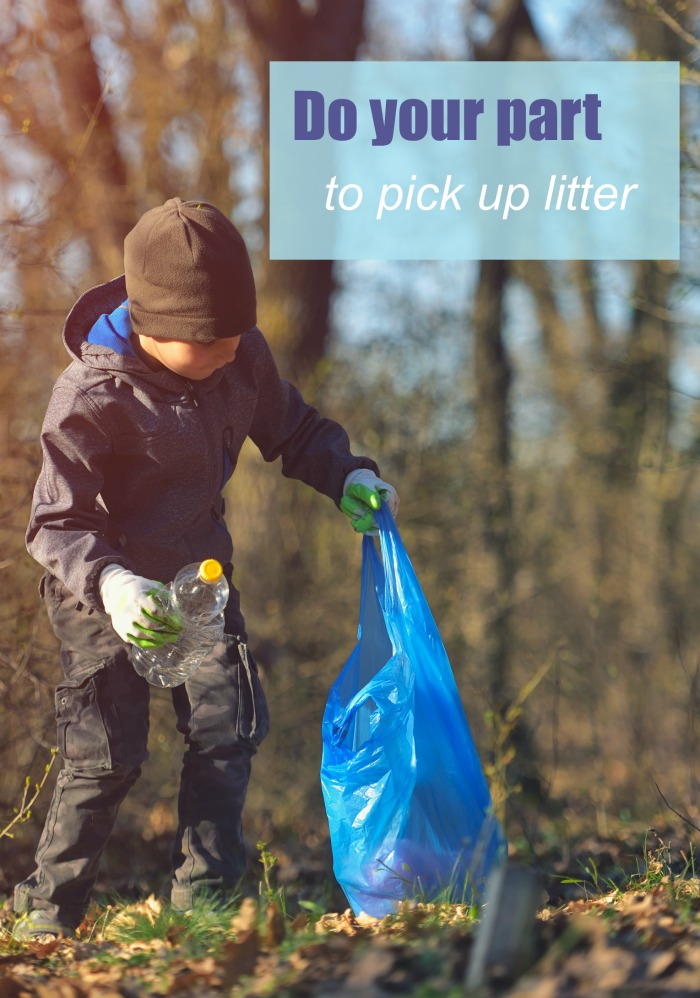 """Child putting a soda bottle in a blue plastic bag with text reading """"do your part to pick up litter."""""""