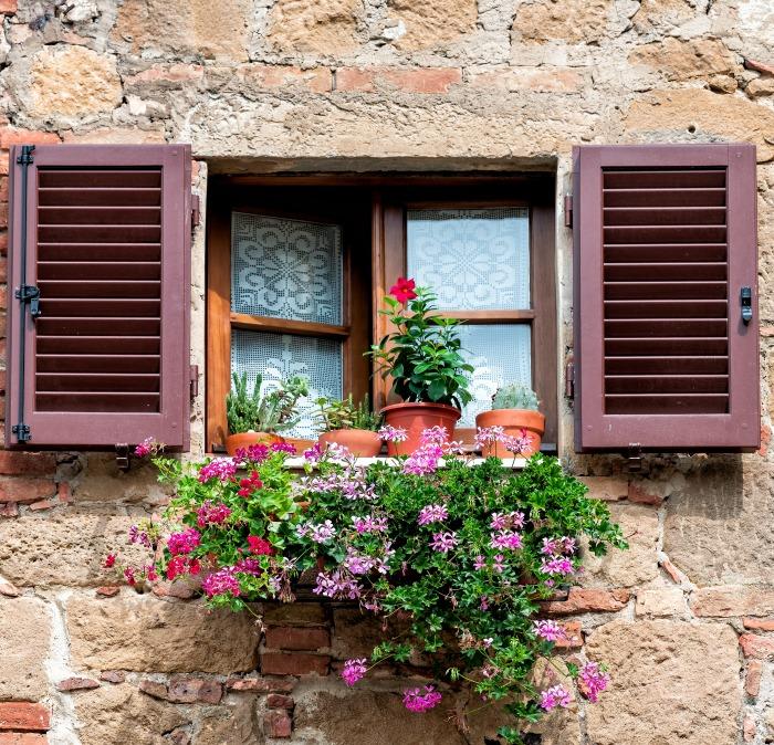 Window box with flowering plants.