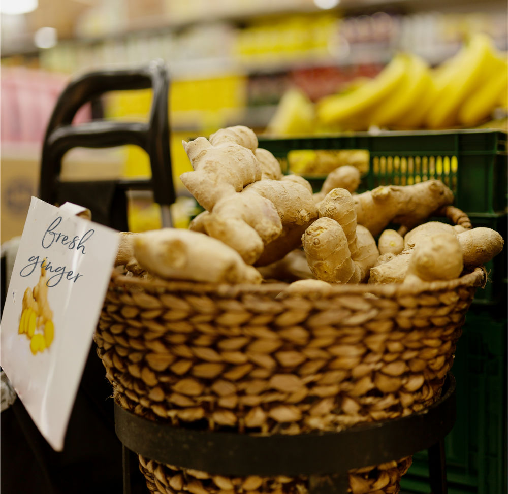 Basket of fresh ginger in a store.