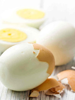 Perfect hard boiled egg with shell coming off easily.