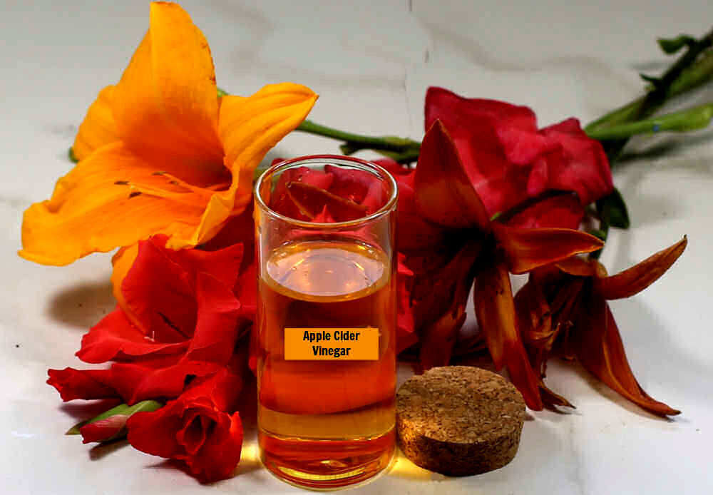 Apple cider vinegar in a container with lilies and gladiolus.