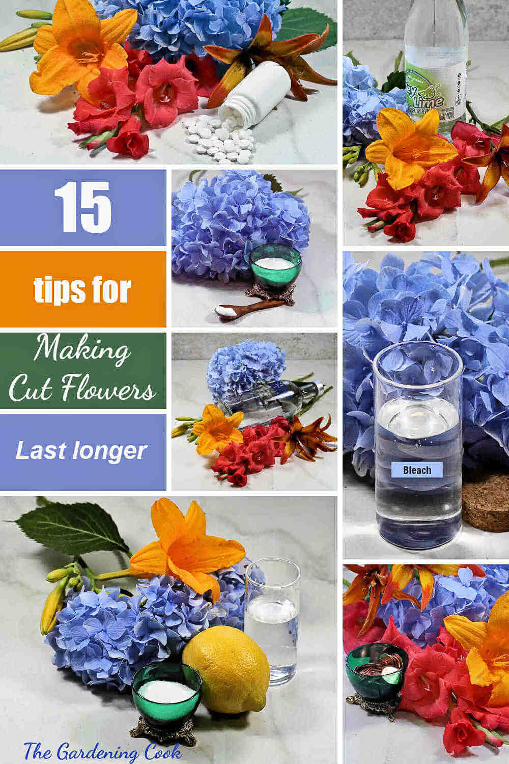 Fresh cut flowers and household ingredients with words reading 15 tips for making cut flowers last longer.