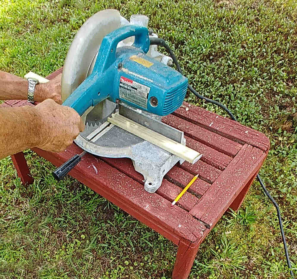 Cutting pieces of wood with a circular saw.