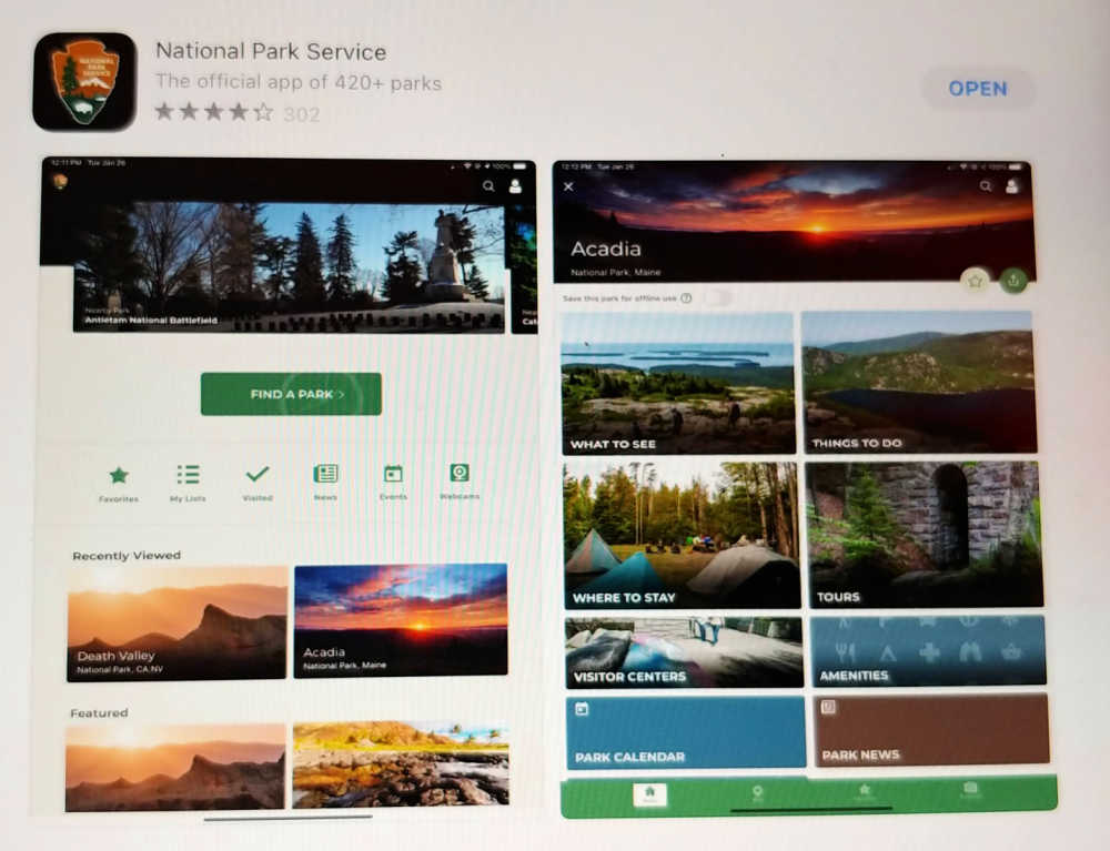 National Park Service App for iPhone or Android.