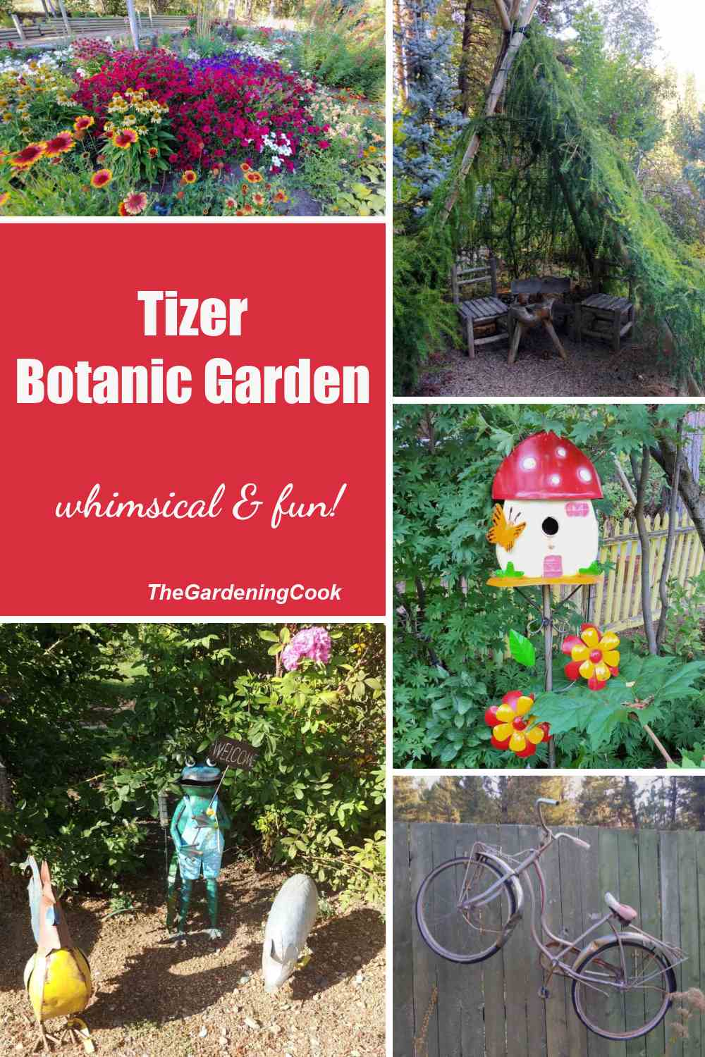Whimsical garden scenes in a collage with wrds Tizer Botanic Garden - whimsical & fun!