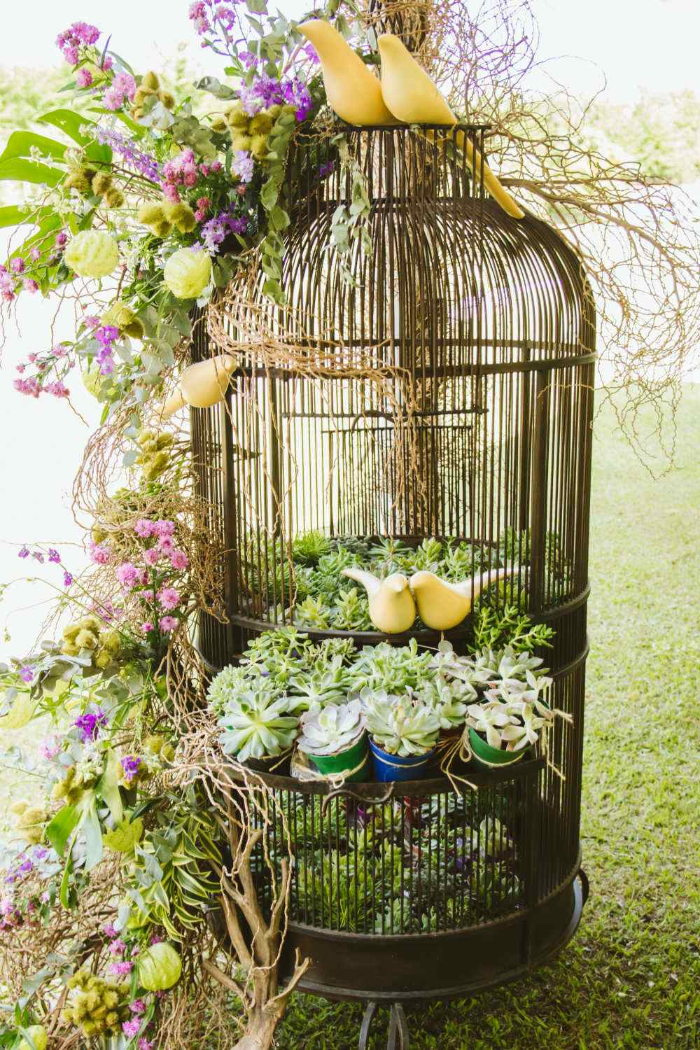 Elaborate arrangement in a bird cage with birds, succulents and silk leaves and flowers.