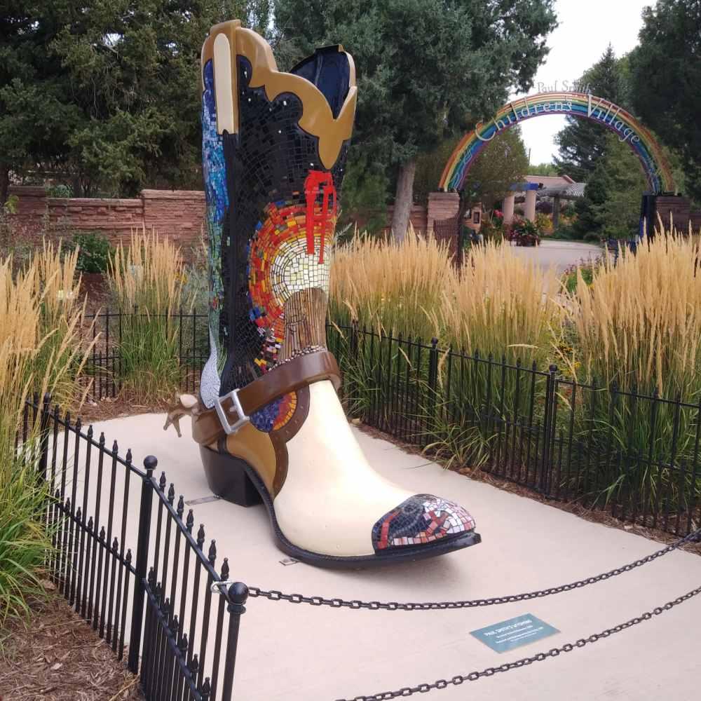 Mosaic cowboy boot at a children's garden in Wyoming.