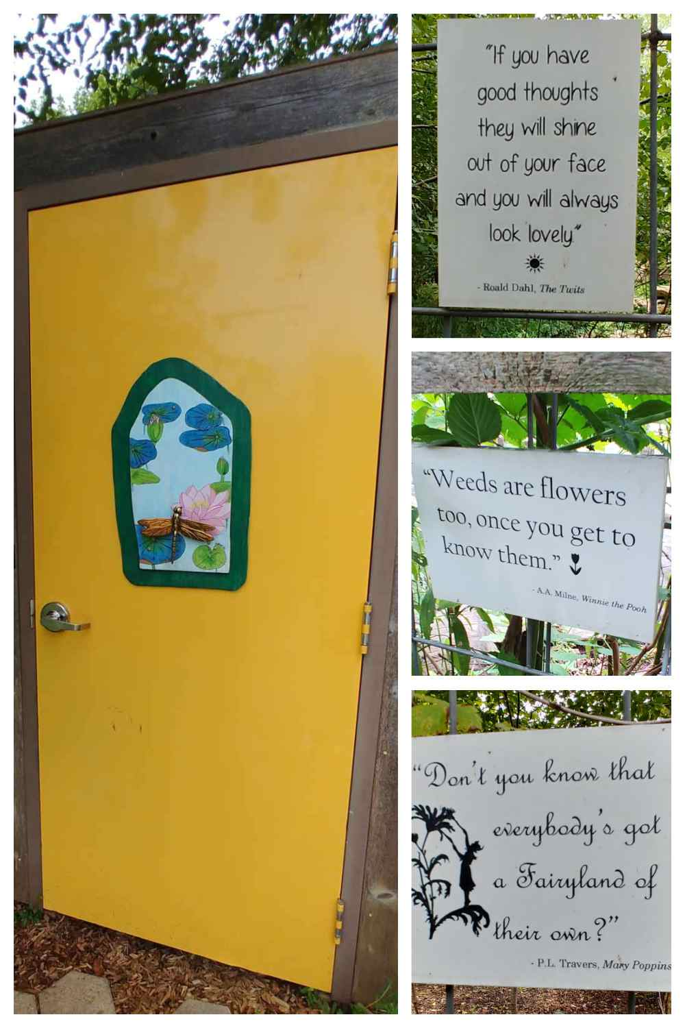 Yellow door and garden quotes in a collage.