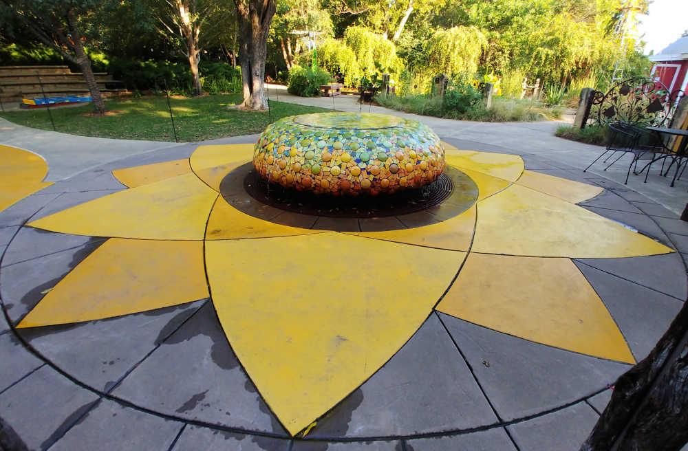 Sunflower fountain in a childrens garden in Wichita.