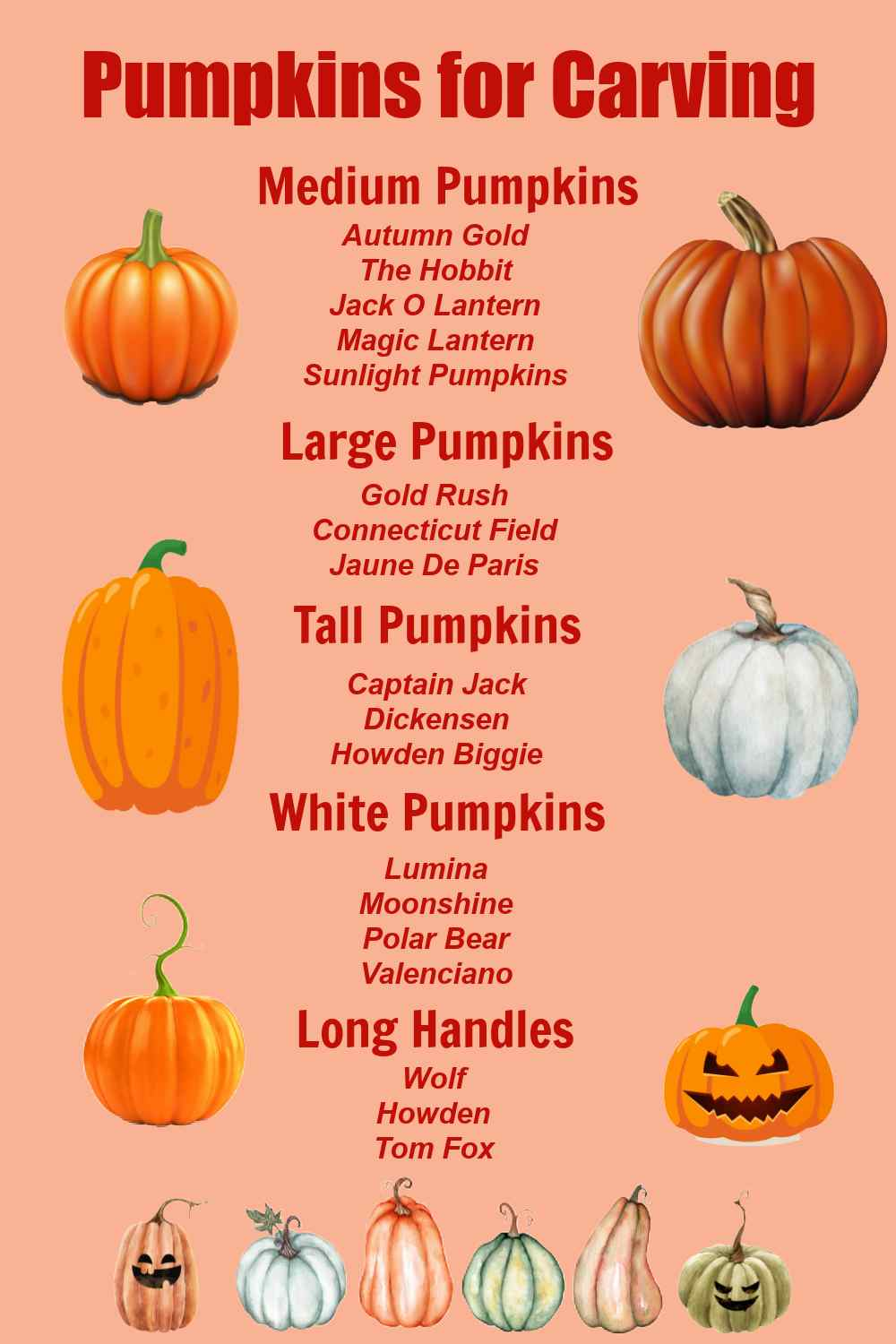 List of pumpkins for carving with images.