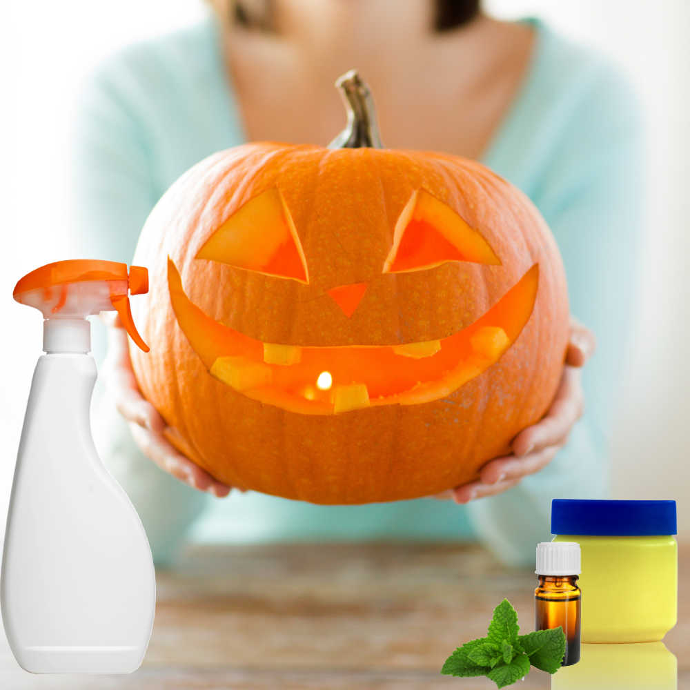 Woman holding carved pumpkin with spray bottle, jar of Vaseline and peppermint oil.